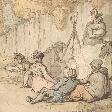 History image Thomas Rowlandson Gypsies Cooking on an Open Fire